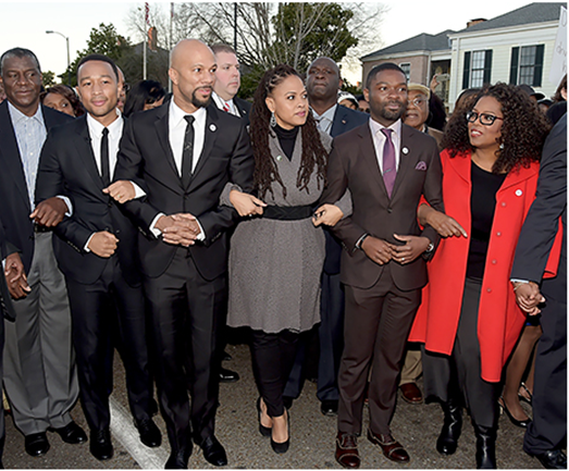 John Legend, Common, Ava DuVernay, David Oyelowo, and Oprah Winfrey marched in Selma for Martin Luther King Day. Credit: Rick Diamond/Getty Images for Paramount PicturesRead more:http://www.usmagazine.com/entertainment/news/oprah-winfrey-john-legend-march-in-selma-with-film-stars-for-mlk-day-2015191#ixzz3fU4ndAXo